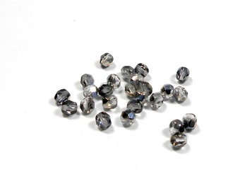 25 Crystal Moody Blue Sky Czech Rounds, 6mm, Faceted, Rounds, Czech Beads, Moody Blue Sky, Bead Supplies, Jewelry Supplies,