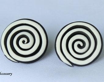 black circle earrings, clay stud, fancy earrings, clay earrings, earrings clay