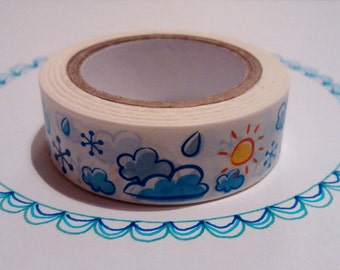 Weather Washi masking tape with sun rain clouds 10 m/11 yards crafting decorative tape cardmaking tape scrapbook tape summer washi