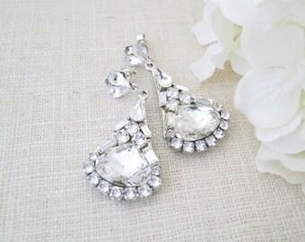 Swarovski rhinestone chandelier, Crystal post wedding earring, Statement bridal earring