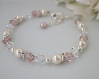 Blush bridal bracelet, Swarovski crystal and pearl wedding bracelet
