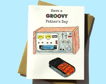 Funny Father's Day Card, Father's Day Card, Groovy Father's Day, 1970s Father's Day, Funny Father's Day, 8 Track Player, Funny Dad Card