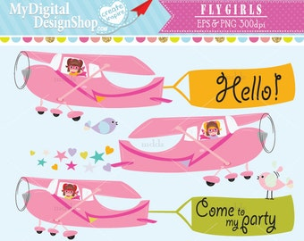Fly Girls Clipart, Vector EPS, PNG image, Pilot Girl, Aviation Role Model, Flying Pink Airplane, Pilot Dog, Scrapbook Kids Airplane |C061