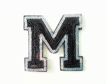 Alphabet Letter M Iron on Patch - Black Sequin M, Glitter Applique Embroidered Iron on Patch - Size 7.6x7.3 cm#T1