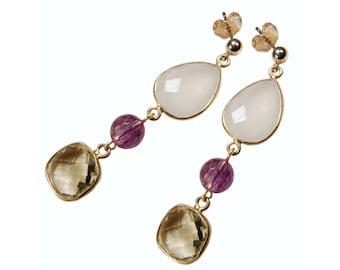 Gemstone earrings jade, Amethyst, Pearl