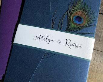 Peacock Wedding Invitation Suite, Peacock Feather Invitation, Pocketfold Invitation, Elegant Script, peacock feather, Blue, Purple, Green