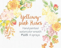Watercolor wreath of yellowy-pink roses: hand painted flowers; 4 sprays included; wedding clip art; weddings - instant download