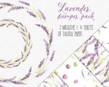 Watercolor lavender bumper pack: hand painted; wedding resources; watercolor clip art - digital download