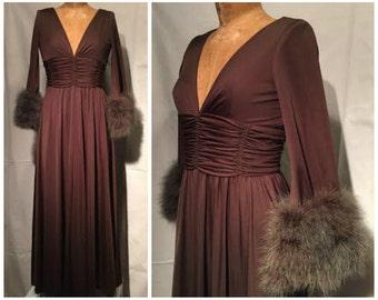 Vintage 70s dress, vintage maxi dress, brown maxi dress, nylon maxi dress, feathered maxi dress