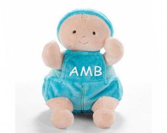 Personalized Blushing Cheeks Baby Doll in Blue Overalls- Boy, 10 Inch