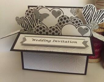Set of 10 pop up wedding invitations