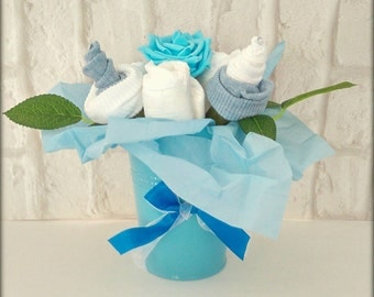 Baby Boy Baby Shower baby essentials flower pot gift maternity leave gift nappy cake
