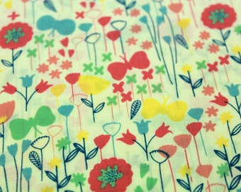 Patchwork fabric - flowers and butterflies