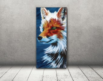 Fox print - Fox Canvas - Fox art - Fox painting - Elegant Fox decor - Fox wall art - Fox Gift - woodland art - Christmas Gift for Husband