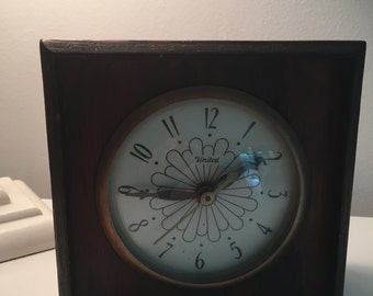 Vintage Art Deco Electric Time Clock Wooden