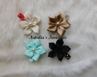 Starflowers hair clip.Accessories for girls.SET of four flowers.Gifts idea for baby girls.Headband with flowe.Ribbon flower