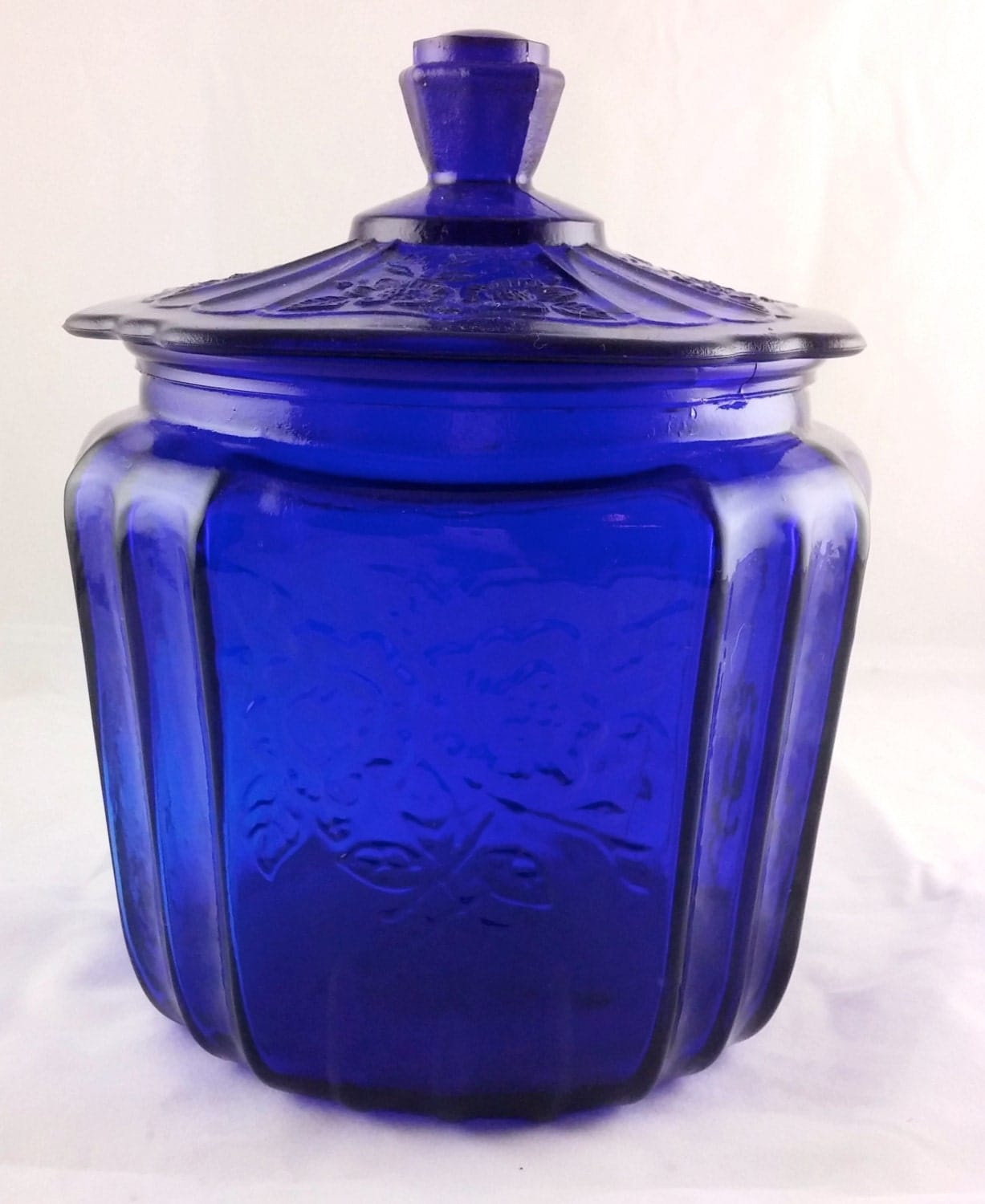 Vibrant vintage blue glass lidded canister kitchen storage - Blue glass kitchen canisters ...