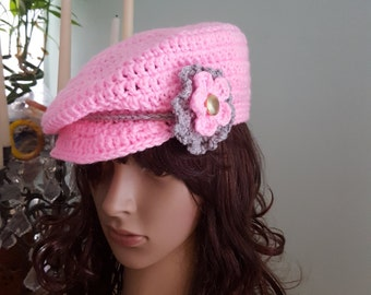 Crochet Newsboy Hat, Crochet Woman Hat, Newsboy Cap, Pink Hat, Pink Newsboy Hat With Flower