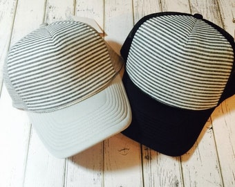 Best selling simple stripes design women's trucker hat. Available in a variety of different colors and sizes