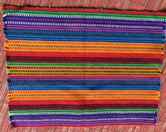 Colorful Table Topper,Woven Table Topper,Guatemalan Table,Hippie Table,Boho Table Topper,Woven Doily,Colorful Doily,Striped Table Topper