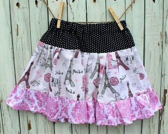 Little Girls Twirl Skirt, Little Girls Ruffle Skirt, Little Girls Paris Skirt, Pink and Black Skirt, Ready to Ship
