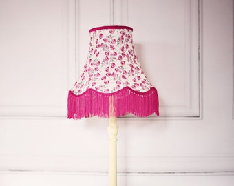 Vintage Lighting, spring lampshade, liberty fabric lamp, fringe lampshade, vintage lamp shades, pink vintage decor, vintage home decor