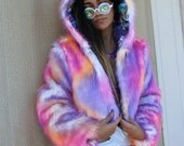 Pastel rainbow faux fur cropped coat with hood and unicorn lining