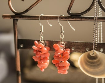 Coral earrings. Hand crafted designer natural stone earrings