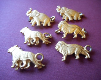 Gold metal Animal Charms, Link Bracelet Charms, Bracelet Supplies, Zoo Animals, African Animals, Lions, Tigers, Elephants, Jewelry Making