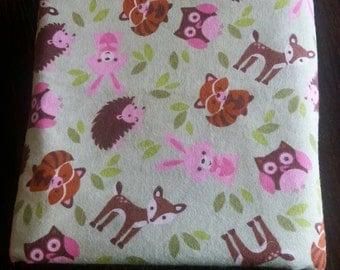 Woodland Animal Flannel Recieving Blanket