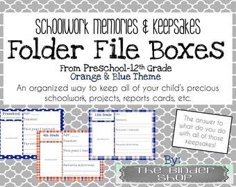School Memory Box - Preschool-12th Grade File Folder Covers - Orange & Blue Theme