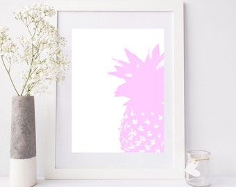 "Instant Download, ananas art print, scandinavian print, minimalist art, pink pineapple art, printable art, pineapple print  ""Pink pineapple"""