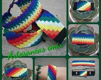 Wiphalas, traditional peoples adjustable slide closure macrame bracelets