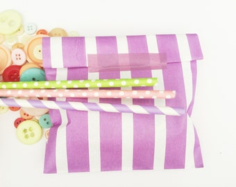 Purple stripes paper bags, Gift bags, packaging. 20X striped paper Snack Sweet Treats bags, party, Cute packaging, baby shower,lavender