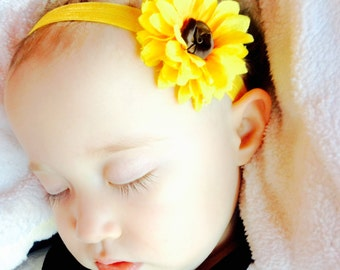 Sunflower headband, baby sunflower headband, sunflower baby headband, yellow flower headband, yellow baby headband, summer baby headband