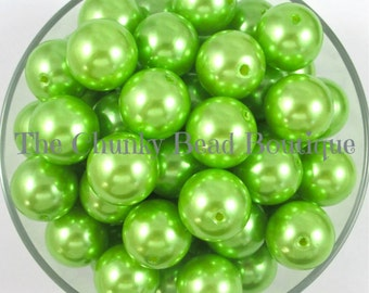 20mm lime green resin pearls