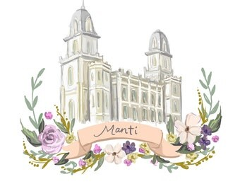 Manti Temple, LDS painting, Mormon art, Latter Day Saint, Flower wreath, ribbon, violet, Christmas gift, Utah temple digital printable file