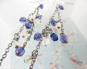 Long Chain Earrings, Colbart Blue Earrings, Clear Beads, Chain Jewellery, One of a Kind