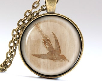 Hummingbird Necklace, Bird Jewelry, Wood Pendant, Wooden Charm  LG994