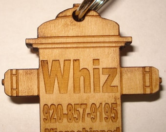 Dog Pet ID Tag Custom Laser Engraved Fire Hydrant Solid Cherry Wood Personalized