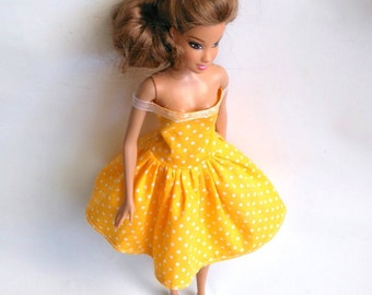 Barbie Doll Clothes, Barbie Dress, Barbie Summer Dress, Garden Party Dress, Romantic Dress, Barbie Doll, Doll Dress, Yellow Dress