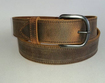 "1-1/2"" Stitched Water Buffalo Genuine Leather Belt"