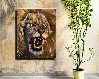 Lion painting on canvas original oil painting