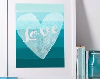 Love Ombre Watercolour Print