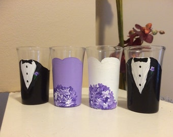 "Custom Bridal ""party"" shot glasses"