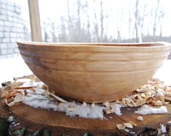 Wood Bowl for Salad, Fruit, or display - hand turned from spalted Elm - finished with mineral oil and beeswax