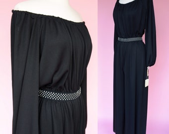 NWT 70s Jumpsuit, Vintage, Off The Shoulder //  Deadstock 1970s Disco, Black Pantsuit, Costume, Palazzo Pants, Women Size Small