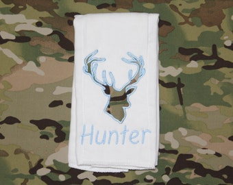 Light Blue Deer Applique Personalized Burp Cloth