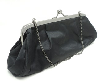 Black clutch small black evening clutch, chain handle, Kiss clasp clutch  Purse