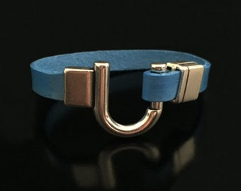 Silver hook latch on royal blue leather 3/8 inch band